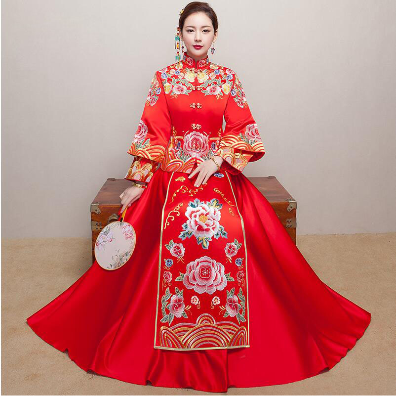 Claret Red Vintage Chinese Womens Long Qipao Cheongsam Wedding Evening dress SuZhou Embroidery Dress