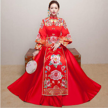 Claret Red Vintage Chinese Womens Long Qipao Cheongsam Wedding Evening dress SuZhou Embroidery Dress