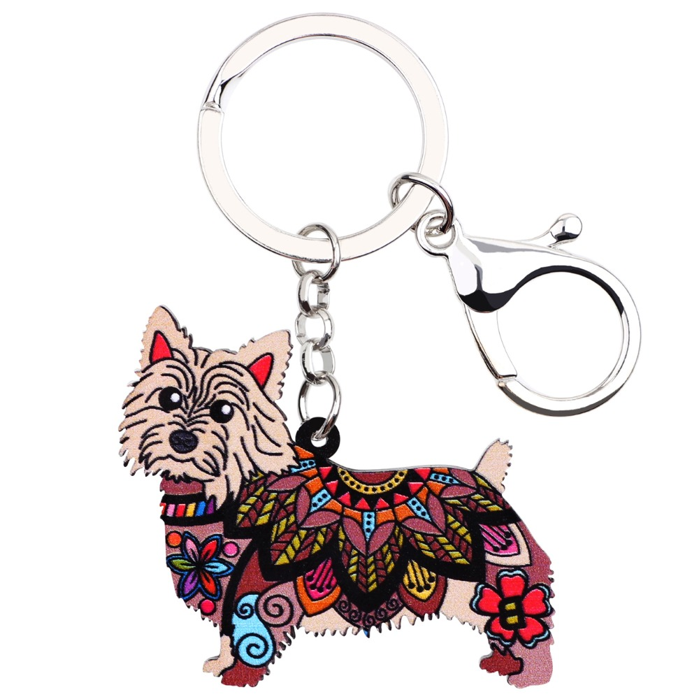 Norwich Terrier a Keyring with a Dog