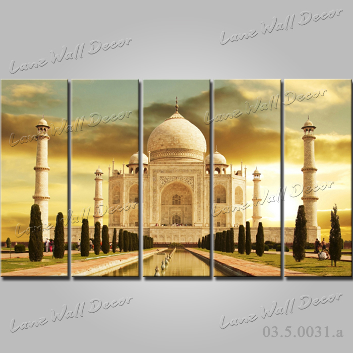 No Frame Canvas Painting 5 Pieces India Taj Mahal Wall Art Pictures For Living Room Home