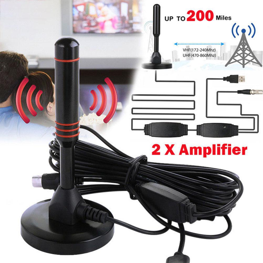 LumiParty Indoor Digital HDTV TV Antenna Aerial Amplified 200 Mile Range VHF UHF Freeview R15
