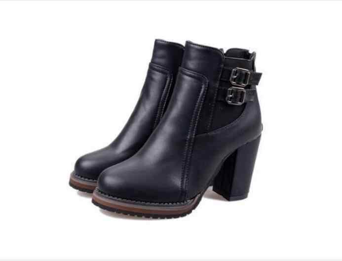 Herbst Schnalle klassischen großen größe Frauen Boot Herbst frühling Kurze schuhe Frauen High Heel Schuhe frauen Stiefel Frauen Stiefeletten schwarz