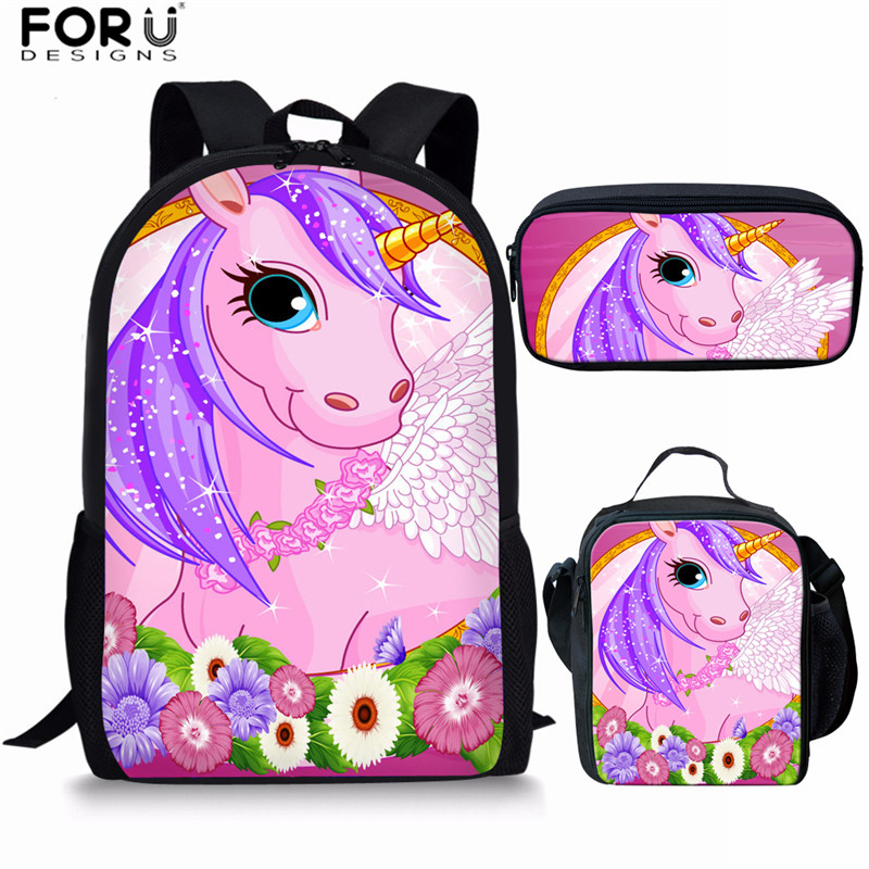 FORUDESIGNS Unicorn Backpack Kawaii School Bags For Teenage Girls Pink Backpack Cartoon Kids Bagpack  Japanese Children Back Bag