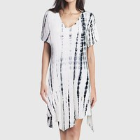 2017 Women Gradient Tie Dye Print V Neck Casual Loose Shirt Dress Summer Short Sleeve Irregular