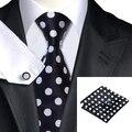 C-1190 Moda Preto Dot Gravata Lenço Abotoaduras Set 100% Gravatas De Seda Para Homens de Negócios Formal da Festa de Casamento
