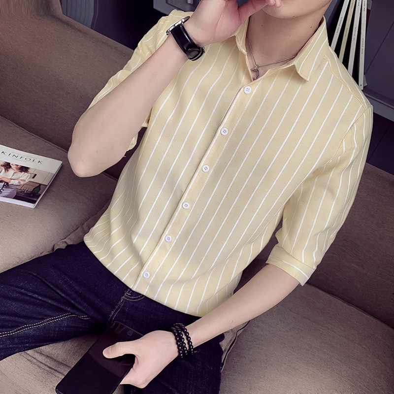 2019 Männer Kurzarm Shirt Streifen Blau Weiß Business Casual Dünne Baumwolle Joker West Montage Bequeme Stattliche Hemd Bodys & Einteiler
