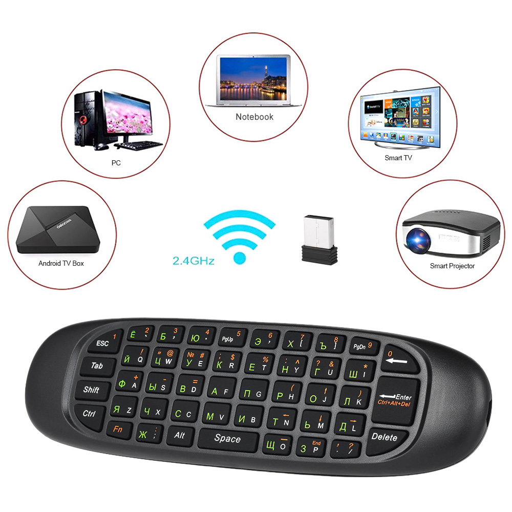 2.4G Russo Inglese Air Mouse Wireless Remote Keyboard di Controllo Assi Motion Sensing per Smart TV Android TV BOX PC