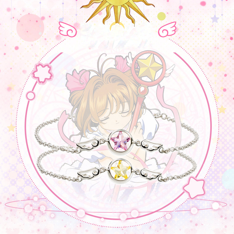 Cosplay Anime Jewelry Card Captor Sakura 925 Silver Bracelet Sweet Angel Wing Wand Bangles Bracelets Women Wristband Bracelet anime cosplay card captor kinomoto sakura jk school cosplay costume girls uniforms costumes coat shirt skirt
