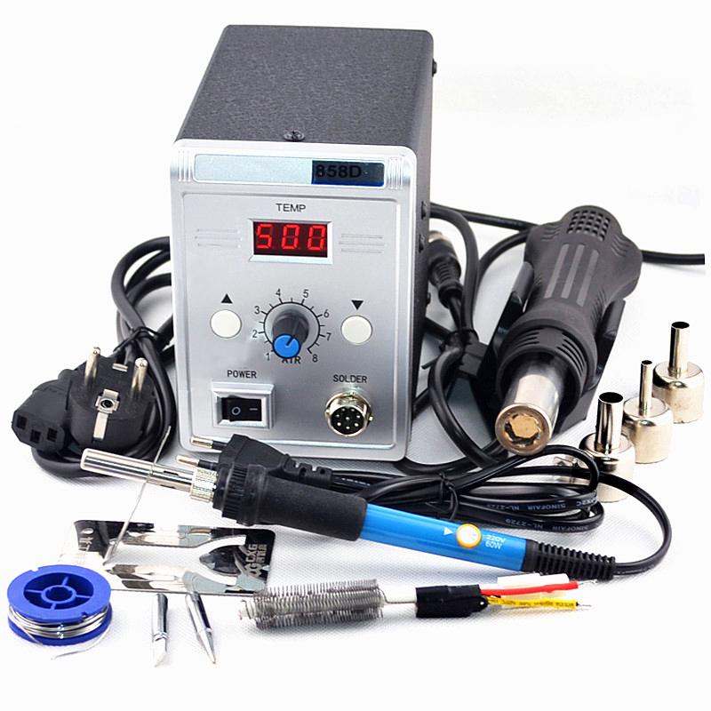 700W 858D Soldering Station LED Digital Solder Iron desoldering station BGA Rework Solder Station Hot Air Gun+ 60W Electric iron