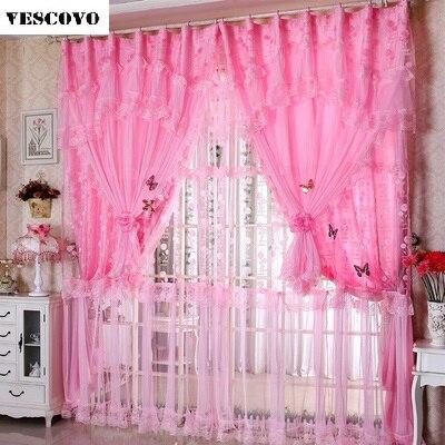 2017 new window lace curtains luxury valances korean curtains set ...
