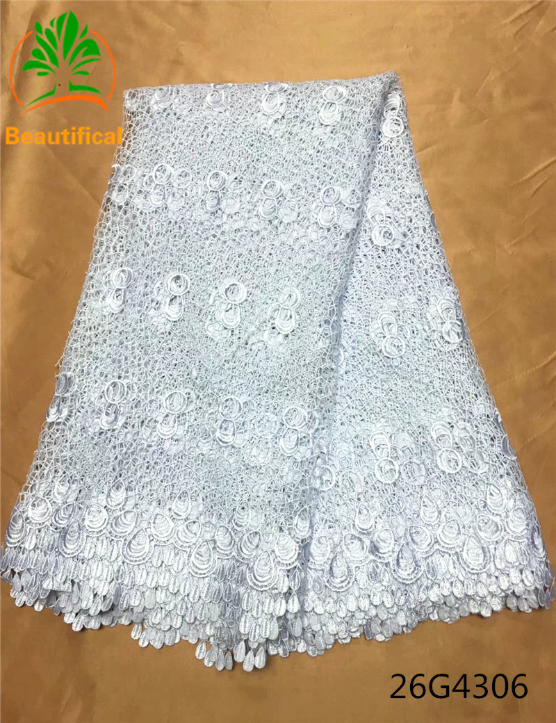 Beautifical guipure lace fabric white african cord lace fabric chemical lace embroidery fabric for wedding adress 26G43