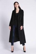 Ultra Long Design Woolen Double Breates Jacket for Women Plus Size XS XXL Turn down Collar