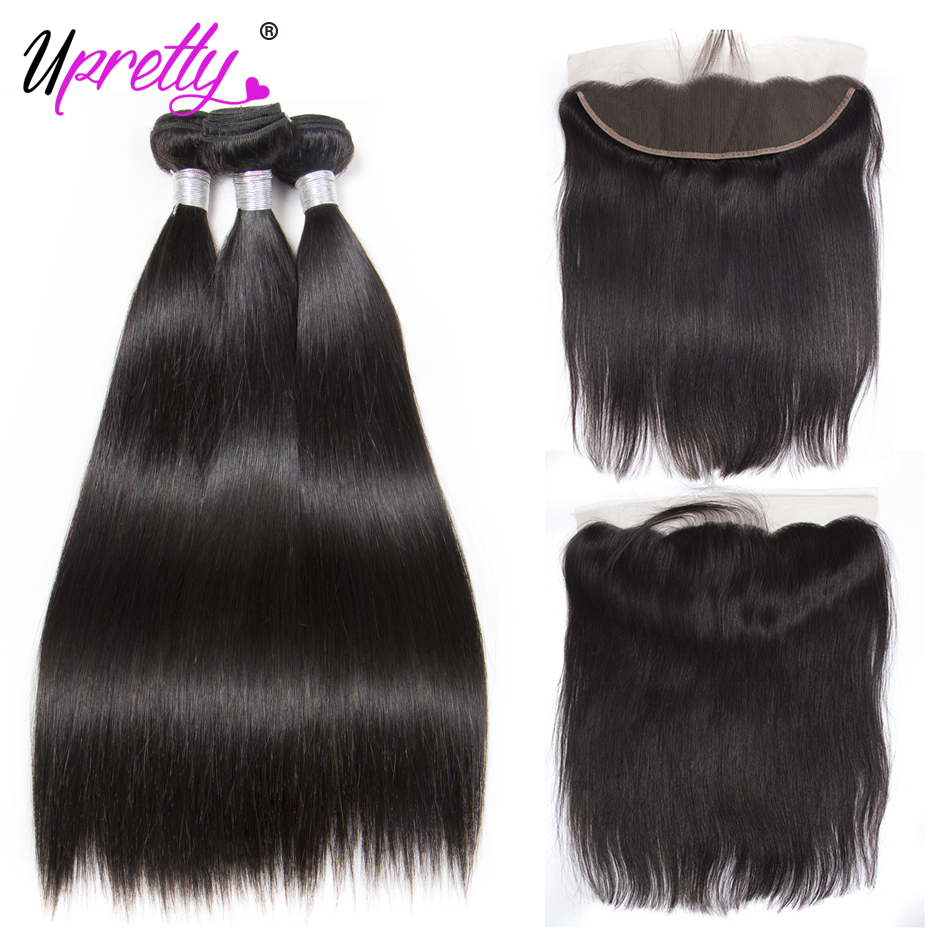 Upretty Hair Malaysian Straight Hair Bundles With Frontal Closure Remy Human Hair 3 Bundles With Lace Frontal Closure Ear To Ear