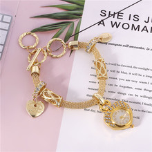 WomenS Bracelet Watch Pendant Heart Hollow Chain Lady Round Female Quartz Movement Clock Gift