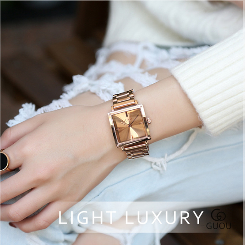 GUOU Fashion Women Square Bracelet WristWatch Ladies Luxury Stainless Steel Quartz Watch Woman Waterproof Clock relojes mujer 10pcs lot sg6841dz lcd power management chip