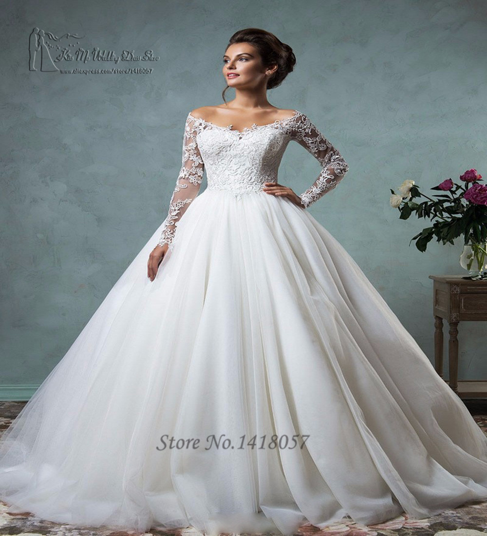 Hot sell white long sleeve lace wedding dresses ball gown for Wedding dresses to buy off the rack