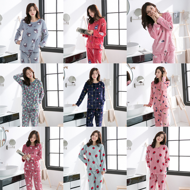 8d61a6b7e Winter Women Pajamas Set Long Sleeve Thick Coral Velvet Female ...