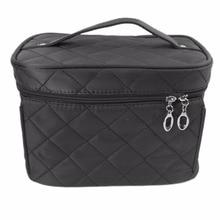 Women Makeup Organizer Bag Girls Cosmetic Bag Vintage Plaid Toiletry Travel Trunk Bag Box Neceser Pouch Clutch Handbags