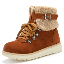 women winter snow boots warm wool ankle buckle strap booties non-slip lace up flat shoes size 34-43 platform boots new недорого