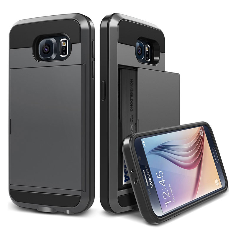 Slide Wallet Credit Card Slot Phone <font><b>Case</b></font> for <font><b>Samsung</b></font> Galaxy S5 S6 <font><b>S7</b></font> <font><b>Edge</b></font> S8 S9 S10 Plus S10e Note 5 8 9 A30 A50 M10 M20 Covers image