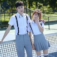 3ba301bddf8 Студент короткий рукав школьная Униформа милые девушки костюм моряка  Комплект школьной формы темно-2 шт. рубашка юбка брюки Акад..