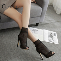 2019 new fashion sexy mesh breathable high heel sandals slippery stiletto 11cm banquet party wedding Romanesque sandals C0663