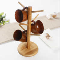 Tree Shape Wood Coffee Tea Cup Rack Storage Holder Stand Home Kitchen Mug Hanging Display Drinkware Shelf With 6 Hooks