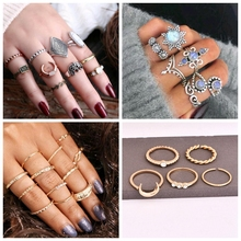 10 Pieces Bohemian Retro Elephant Finger Midi Ring Set For Women Hollow horn Silver Color Carved Knuckle Party Jewelry