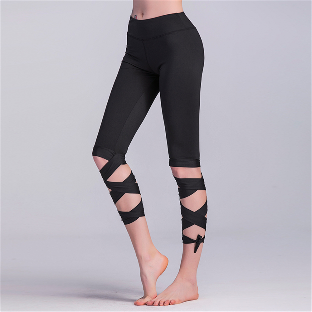 Women Ballerina Yoga Pants Bandage Cropped Leggings Sports Dance Tights Leggins Fitness Cross Running Slim Quick Dry Trousers