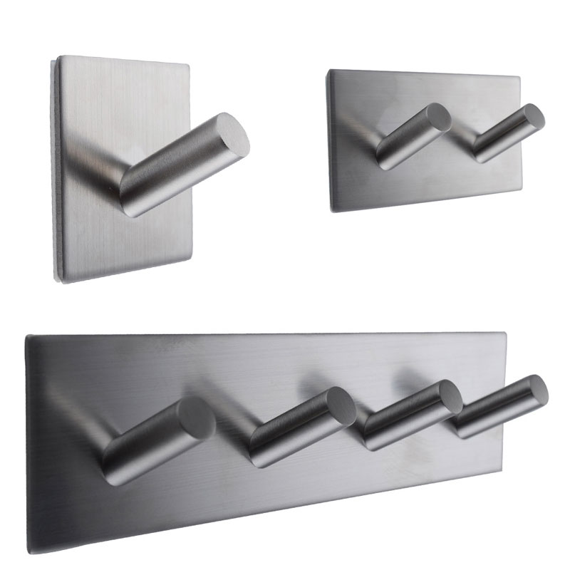 1/2/4 Hooks Stainless Steel Self Adhesive Hook Key Rack Bathroom Kitchen Towel Wall Mount Multi-Purpose Hooks E2S ...