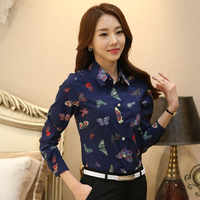 New 2018 Women Spring Fashion Butterfly Print Floral Blouse Tops For Women Long Sleeve Blouses Blusas