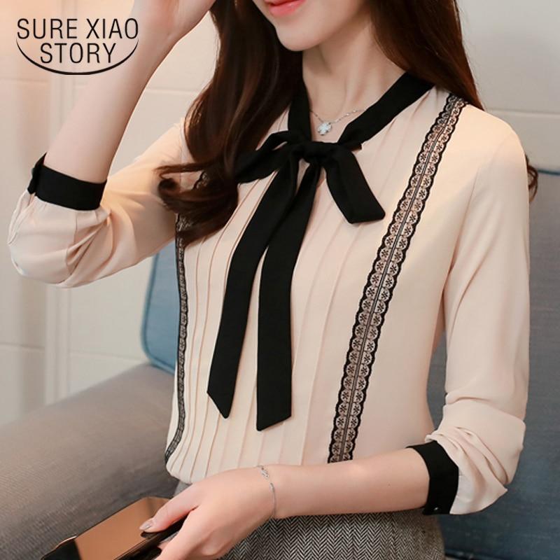 new 2018 fashion women blouse shirts chiffon  long sleeve women's  tops office lady blouse shirt blusas femininas  0473 30