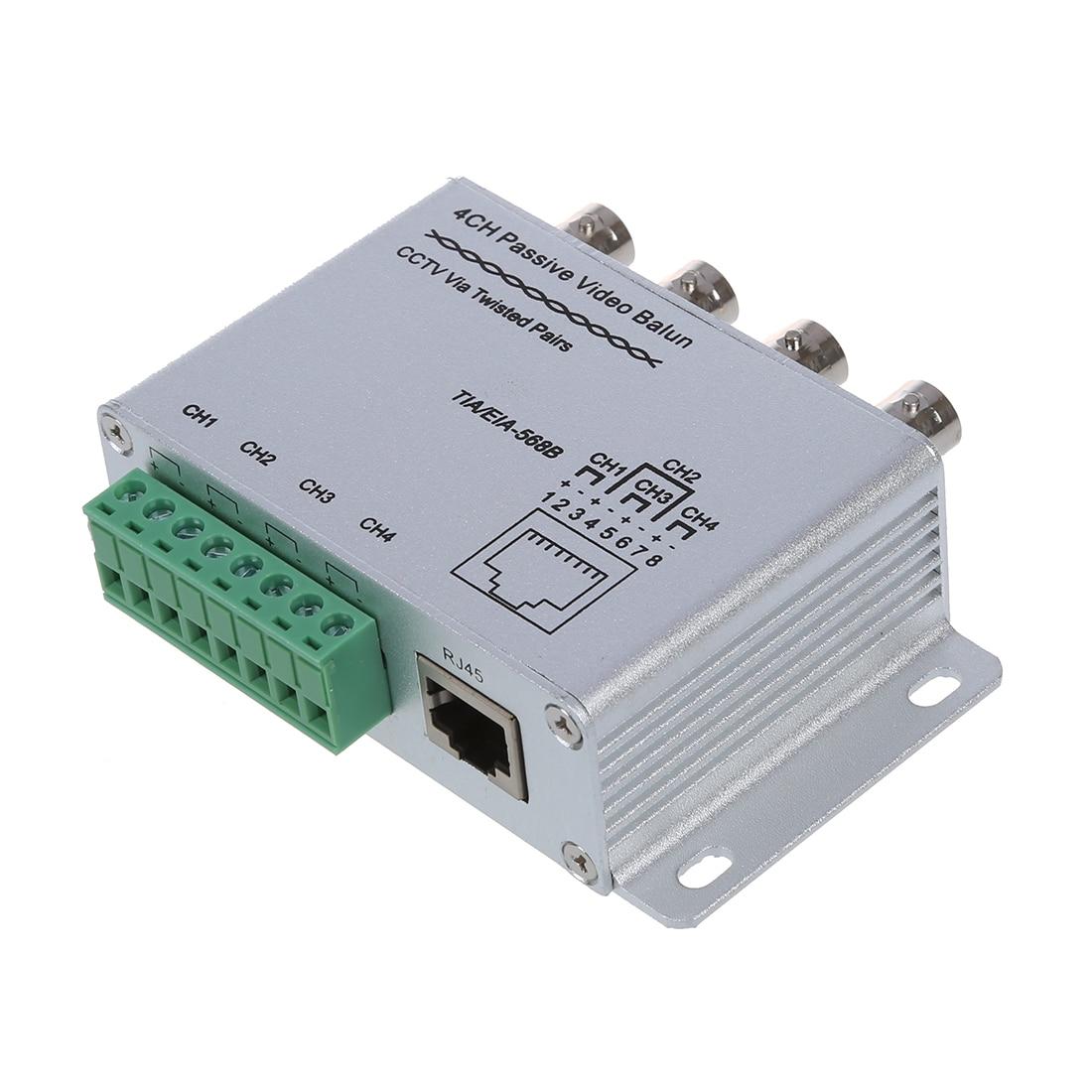 UTP 4 Channel Passive Video Balun Transceiver promotion new silver utp 4 channel passive video balun transceiver adapter