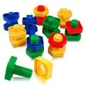 5 par/lote tornillo bloques de construcción bloques de inserción de plástico tuerca de forma juguetes para niños juguetes educativos maquetas