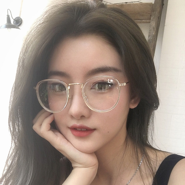 ab68facda6 2018 New style lady Korean version retro spectacle frame oval frame metal  thin leg flat lens