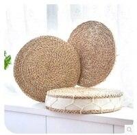 ハンド織り厚いガマクッション瞑想クッション手作りわらマットyoga瞑想畳クッションクッション演
