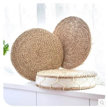 Hand weave Thick cattail cushion meditation cushion Handmade straw mat yoga meditation Tatami cushion cushion playing