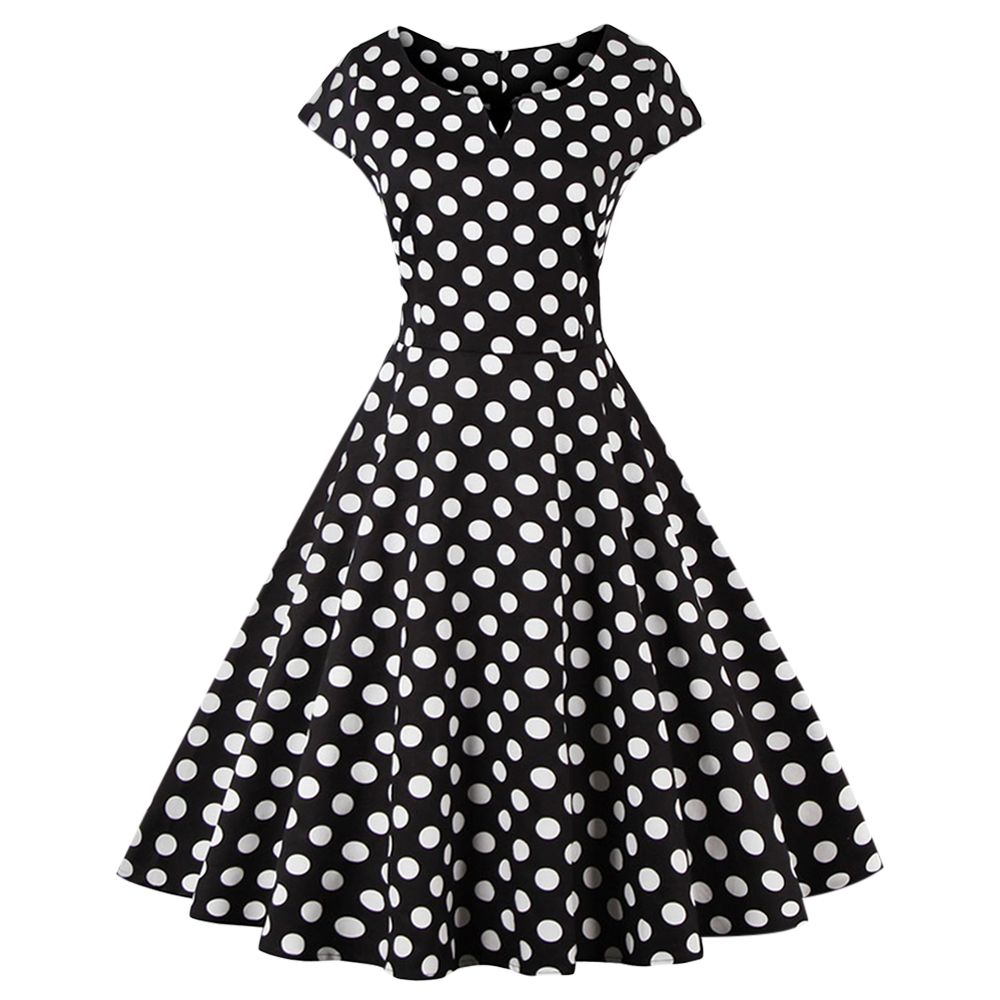2017 LANGSTAR Retro Polka Dot Fit and Flare Dress Women Short Sleeves V-Neck A-Line Ladies Dress Fashion Slime Mid-Calf Dress ...