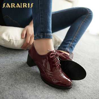 SARAIRIS Large Size 34-43 Women British Lace Up Chunky Heels Platform Patent PU Shoes Woman School Girls Pumps - DISCOUNT ITEM  40% OFF All Category