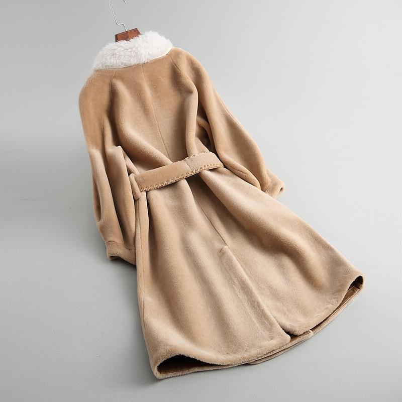 Outwear Qualité As Fourrure 2018 Supérieure Mouton Show Vestes Veste Manteau Femmes Avec Ceinture Mode Réel Show Laine as De Épaisse D'hiver Chaud gFCwqTg