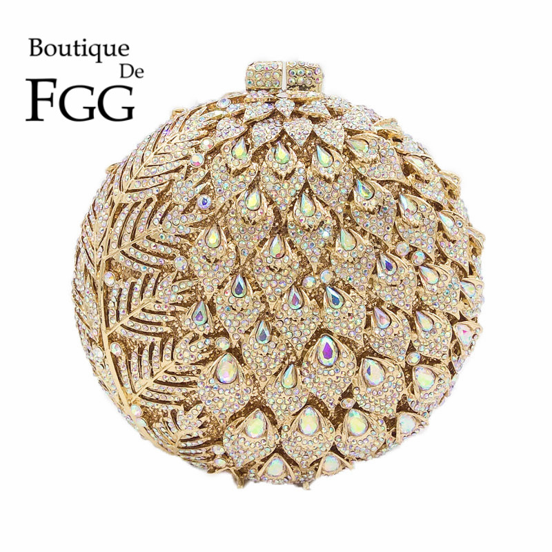 Dazzling Women Hollow Flower Buds Circle Round Gold Crystal Evening Clutch Bags Wedding Party Prom Bridal Metal Handbags Purse