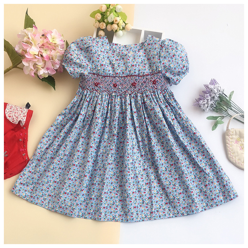 6135b43698 Little Girl Floral Print Princess Dress Kids hand Embroidery Vintage  Blossom Dress Baby Doll Party Dresses For 3-7 Years Girls