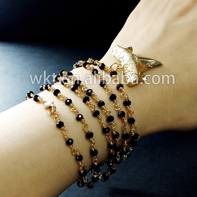Lovely Small Charm Bracelet Tiny Black Beads Rosary Chain And Real Shark Tooth
