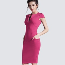 Spring Sexy red black Deep V bodycon bandage Business work office Party Pencil sheath vintage women summer casual dress 521