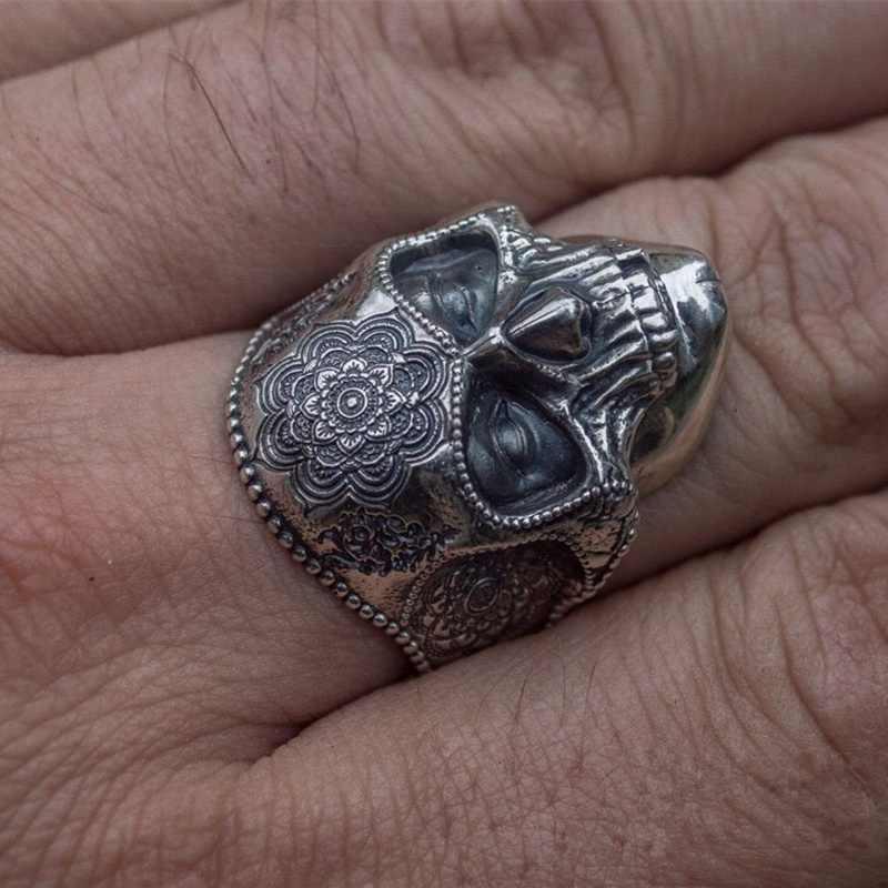 Unik Perak Warna 316L Stainless Steel Berat Gula Tengkorak Cincin Pria Mandala Bunga Santa Muerte Biker Perhiasan