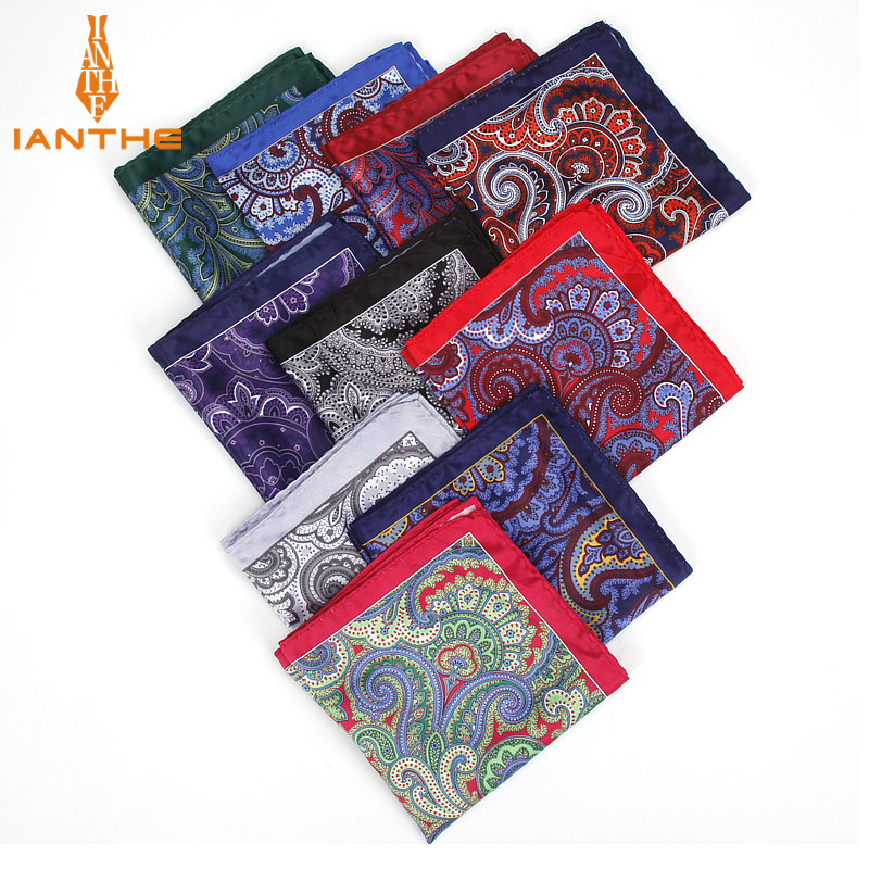 2018 Men's Brand Handkerchief Vintage Paisley Pocket Square Soft Hankies Wedding Party Business Artificial Silk Chest Towel Gift