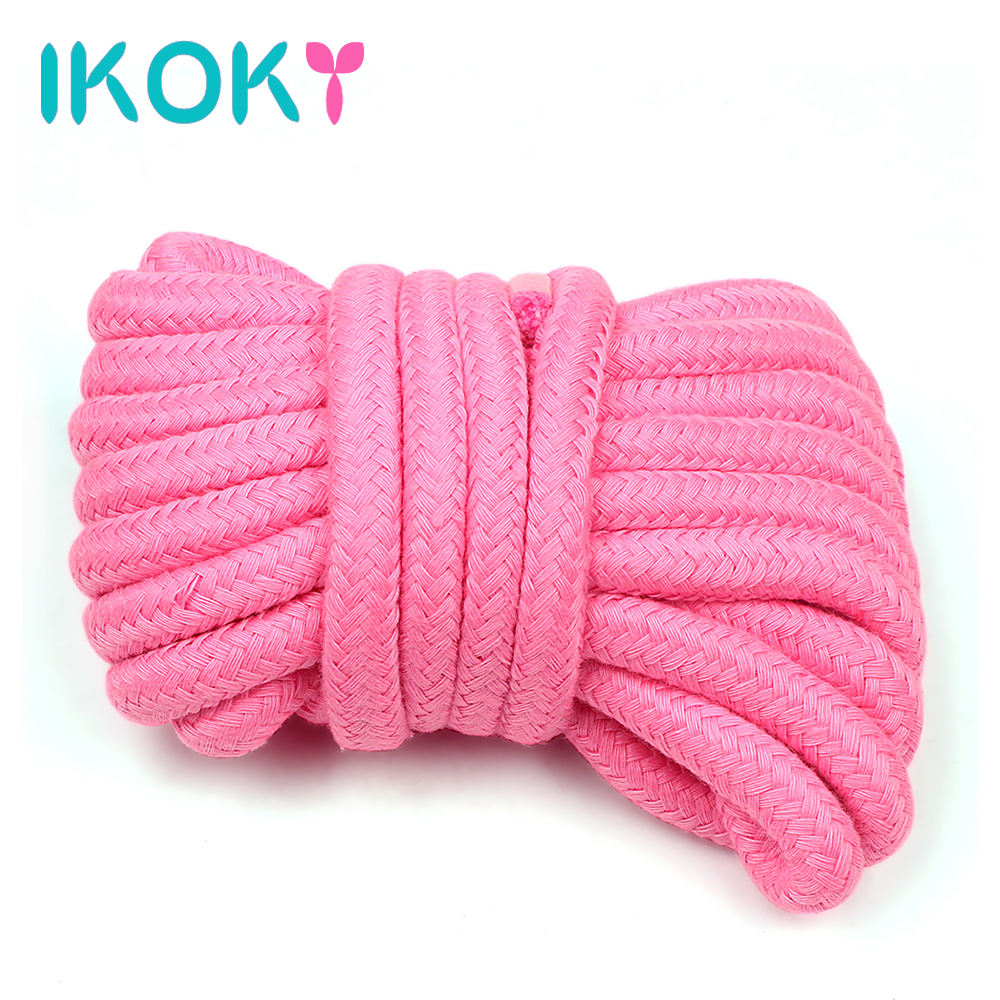 IKOKY Roleplay Slave Bondage Rope Erotic Products SM Sex Toys for Couples Restraint Flirting Soft Cotton Rope 4 Colors 5 Meters