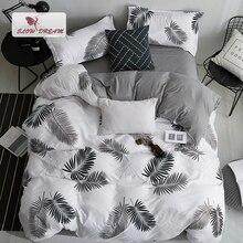 SlowDream Juego de cama de estilo nórdico, funda de edredón con estampado de hojas, Sábana plana, funda de almohada, juego de ropa de cama, Euro para adulto