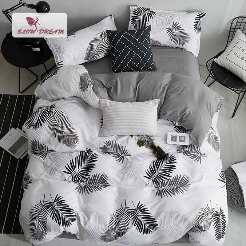 SlowDream Nordic Style Bedding Set Leaf Pattern Duvet Cover Set Flat Sheet Pillowcase Bedclothes Bed Linen Set Euro For Adult