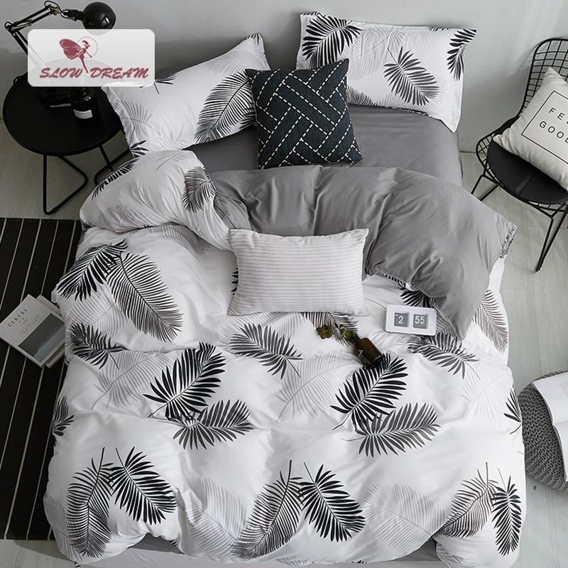 SlowDream Nordic Style Bedding Set Leaf Pattern Duvet Cover Set Flat Sheet Pillowcase Bedclothes Bed Linen
